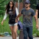 Taylor Lautner and Marie Avgeropoulos stepped out together in New York City on Monday (July 29)