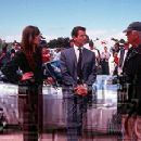 Sophie Marceau, Pierce Brosnan and director Michael Apted on the set of MGM's The World Is Not Enough - 11/99