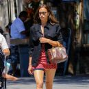 Irina Shayk in Red Mini Dress – Out in New York