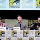 Actor Dane DeHaan and musicians James Hetfield and Lars Ulrich speak onstage at