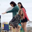 "AnnaLynne McCord, Jessica Stroup and Jessica Lowndes in their swimsuits while filming ""90210"" on the beach in Malibu, CA (July 24)"