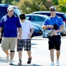 Nick Jonas looked extremely happy while celebrating his journey into adulthood with his father Kevin Jonas Sr. and brothers Frankie, golfing in Los Feliz, Los Angeles, California