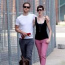 Anne Hathaway and fiance Adam Shulman walking Esmeralda in Brooklyn, NY (August 25) - 454 x 680