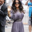 Salma Hayek dazzles in grey jumpsuit at GMA appearance
