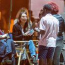 Lea Michele on set of 'Untitled City Mayor Project' in LA - 454 x 681