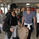 Newlyweds Ian Somerhalder and NIkki Reed departing on a flight at LAX airport in Los Angeles, California on May 19, 2015
