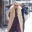 Dakota Fanning in Print Dress – Out in New York