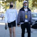 Abby Champion and Patrick Schwarzenegger – Spotted while out for lunch at Kreation in Brentwood - 454 x 639