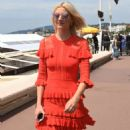 Lena Gercke in Red Dress out in Cannes - 454 x 891