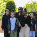 Angelina Jolie takes children to the movies in Los Angeles