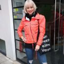 Kimberly Wyatt in Red Jacket – Out in London - 454 x 681
