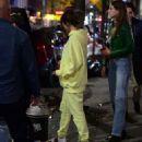 Selena Gomez in Yellow Sweatsuit – Night Of Bar Hopping in Brooklyn