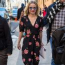 Kristen Bell in Floral Dress out in New York