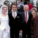 Anne Hathaway and Christopher Gorham pose with John Groberg and Jean Sabin Groberg, whose story is the basis for 3 Mark Entertainment's The Other Side of Heaven - 2001