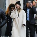 Dianna Agron in Long Coat out in NYC