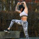 Jemma Lucy in Tights and Sports Bra – Workout in Manchester - 454 x 555