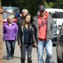 Ashton Kutcher and Mila Kunis out and about with her parents in London, England (May 18)