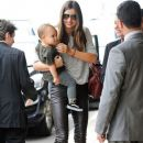 Miranda Kerr and her son Flynn Bloom catching a flight to Los Angeles in Sydney, Australia on February 28, 2012