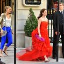 Blake Livey And Leighton Meester On The Set Of 'Gossip Girl' In Paris