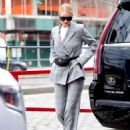 Rosie Huntington Whiteley in Gray Suit – Out in New York City