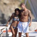 Christina Milian in Bikini on a boat in St. Tropez