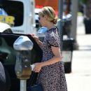 Dianna Agron in a print dress out in Los Angeles - 454 x 806