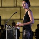Lily Aldridge speaks onstage during The Daily Front Row's Third Annual Fashion Media Awards at the Park Hyatt New York on September 10, 2015 in New York City