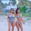 Kim Kardashian and Larsa Pippen in Bikini – Photoshoot at a beach in Miami