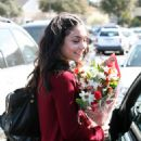 Vanessa Hudgens Looks Pleased With Her Valentines Day Flowers, 14 February 2008.