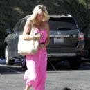 Rachel Hunter and her little black dog visited Blushington salon at Sunset Plaza in Hollywood, California