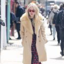 Dakota Fanning in Print Dress – Out in New York