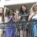 Selena Gomez, Vanessa Hudgens, Rachel Korine, and Ashley Benson waving to their fans from their balcony at Bristol hotel in Paris, France, on February 17th 2013 - 454 x 309