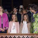 Princesa Letizia de Asturias and Felipe de Borbon : Easter Mass in Palma de Mallorca - 454 x 331