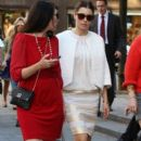 Jessica Biel switches into sandals and walks with friends after viewing the Cavalli show