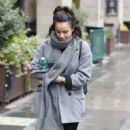 Georgia May Foote in Grey Coat – Out and about in Manchester - 454 x 760