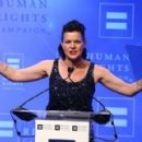 Actress Pauley Perrette speaks to the audience at the 'Human Rights Campaign 2016 Los Angeles Gala' held at the JW Marriott Los Angeles at L.A. LIVE on March 19, 2016 in Los Angeles, California - 454 x 291