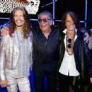 Steven Tyler, Roberto Cavalli and Joe Perry attend the Roberto Cavalli show during the Milan Menswear Fashion Week Spring Summer 2015 on June 24, 2014 in Milan, Italy - 454 x 305