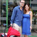 Elena Karpodini and Vasilis Liatsos- leaving the maternity clinic August 2016 - 454 x 635