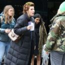 Zosia Mamet on the set of 'The Flight Attendant' in NYC