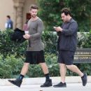 Patrick Schwarzenegger out for lunch with a friend at the Bouchon restaurant in Beverly Hills, California on December 17, 2014 - 454 x 482