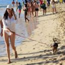 Lauren Silverman in White Bikini – Walking her dog at a beach in Barbados - 454 x 408