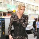 Charlize Theron in Black Long Dress – Arrives at her hotel in New York