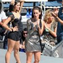 Jessica Lowndes: filming a scene on the set of '90210' at the Hollywood Bowl in Hollywood