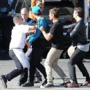 Zac Efron filming a scene on the set of 'We Are Your Friends' in Burbank, California on September 5, 2014
