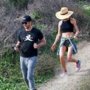 'Newly-engaged' Maggie Q displays her abs in a crop top on hike with 'fiancé' Dylan McDermott - 454 x 556