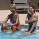 Lady Victoria Hervey in Blue Bikini at the pool in Palm Springs - 454 x 284