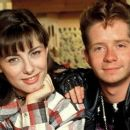 """Mallaury Nataf and Cyril Aubin in 1994 during the filming of TV series """"Miel et les Abeilles""""."""
