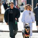 Emily Ratajkowski in Sweatsuit – Walking her dog in NYC