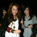 Demi Lovato out with  Miley Cyrus as they dines at Koi restaurant. February 13, 2009