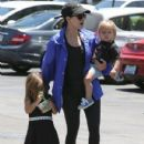 Kourtney Kardashian and her kids Penelope and Reign spotted out for lunch at Corner Bakery with some friends in Calabasas, California on June 13, 2016 - 431 x 600